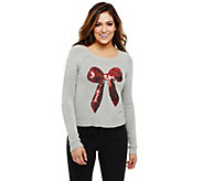Bethany Mota Long Sleeve Sequined Bow Holiday Sweater - A273804
