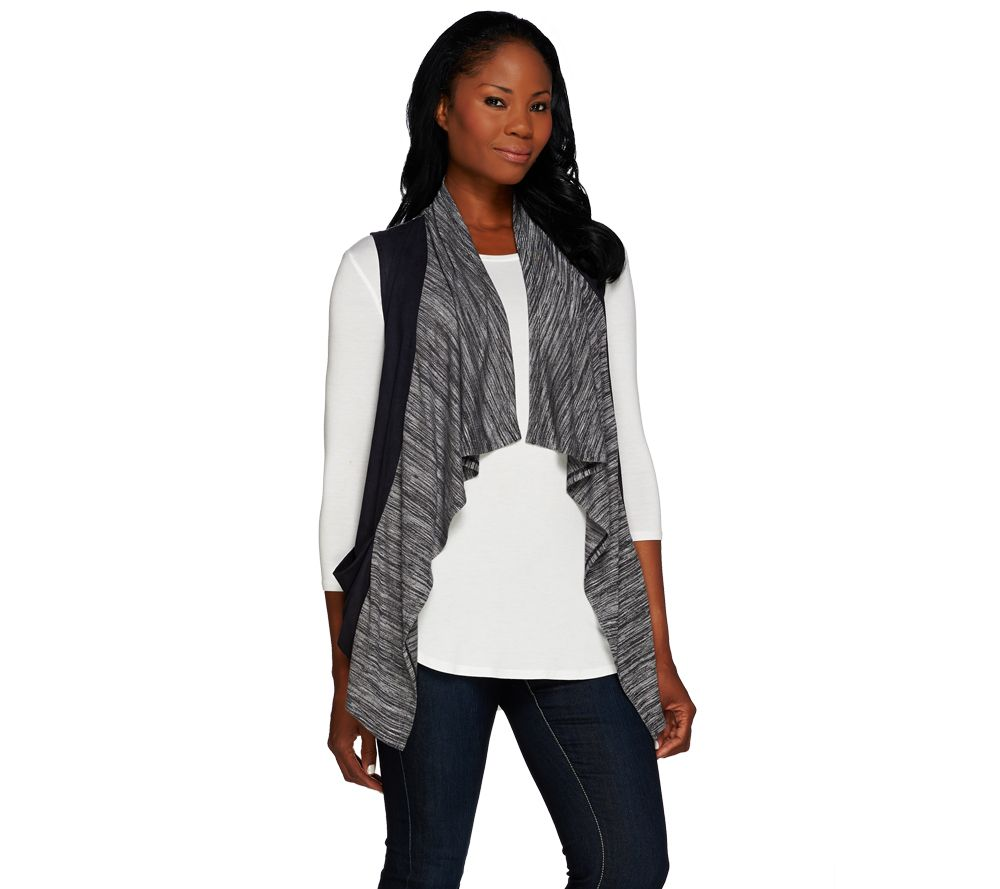 quot as is quot logo by lori goldstein sweater knit vest with faux suede trim qvc com
