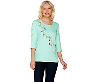 Quacker Factory Ships Ahoy Embroidered 3/4 Sleeve T-shirt - A276704