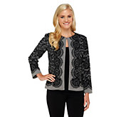 As Is Bob Mackies Placement Print Lace Jacket - A276904