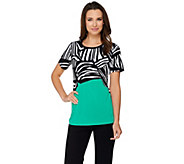 Susan Graver Printed Liquid Knit Short Sleeve Top - A277804