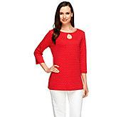 As Is Quacker Factory Polka Dot Keyhole 3/4 Sleeve T-Shirt - A278104