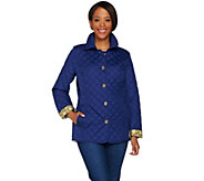 C. Wonder Water Resistant Quilted Barn Jacket with Printed Lining - A278604