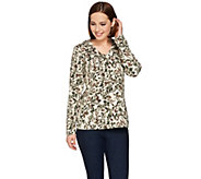 Denim & Co. Leaf Printed V-neck Long Sleeve Top - A282204