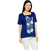 Bob Mackies Square Neck Floral Embroidered Knit Top - A290704