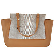 As Is H by Halston Smooth Leather Satchel with Snake Embossed Flap - A291604