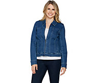 H by Halston Stretch Denim Zip Front Jean Jacket - A292204