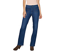 Susan Graver Petite Stretch Denim Straight Leg Jeans - A298504