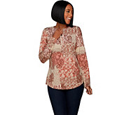 Denim & Co. Patchwork Print 3/4 Sleeve Curved Hem Henley Top - A301104