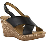 Bella Vita Leather Cross Strap Wedge Sandals -Lea - A356704
