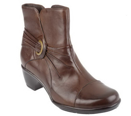 clarks bendables wish rosa leather side zip boots qvc