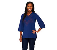 Quacker Factory 3/4 Sleeve Motif Spray Tunic - A212705
