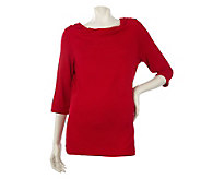 Dennis Basso Stretch Rayon Drape Neck Top with Elbow Sleeves - A214205