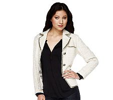 Luxe Rachel Zoe Notch Collar Button Front Boucle Jacket with BeadedTrim