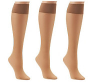 Legacy Set of 3 Pair Long Lasting Lycra Fusion Sheer KneeHighs - A222705