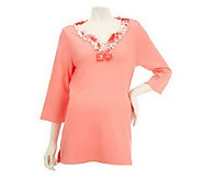 Quacker Factory Paillettes Split Neck Tunic - A223905