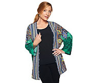 Attitudes by Renee Open Front Border Print Jacket - A226605