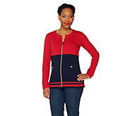 Susan Graver Weekend Brushed French Terry Color Block Jacket - A230805