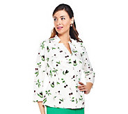 Joan Rivers Cherry Print Jacket with Ruching  Detail - A232405