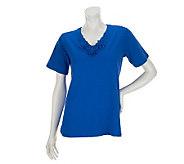Susan Graver Weekend Stretch Cotton Top with Crochet Trim - A233705