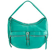 As Is B. Makowsky Leather Zip Top Hobo Bag With Buckle Accent - A235005