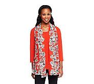As Is Susan Graver Printed Chiffon Vest w/ Liquid Knit 3/4 Sleeve - A240905