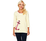 Quacker Factory Anchors Away Stripe 3/4 Sleeve T-shirt - A251805