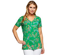 Liz Claiborne New York Short Sleeve V-Neck Printed Knit T-Shirt - A252205