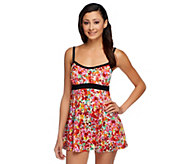 Fit 4 U Thighs Airbrush Floral Banded Empire Swim Dress - A252805