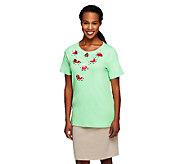 Quacker Factory Fruity Bling Short Sleeve Keyhole T-shirt - A254205
