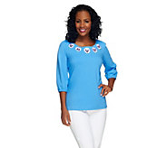 Bob Mackies Floral Embroidered Cotton Jersey Top - A255505