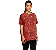 Lisa Rinna Collection Printed Keyhole Neck Caftan Top - A255905