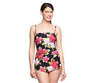 As Is Silver by Gottex Hawaiian Flower Bandea Sarong Swimsuit - A258205
