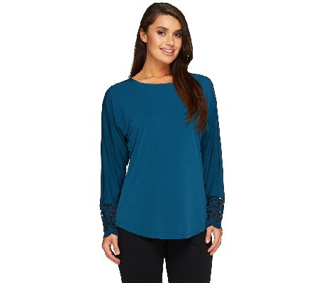 Susan Graver Liquid Knit Dolman Long Sleeve Top w/ Lace Trim Cuffs - A258605