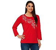Quacker Factory Silver Floral Bracelet Sleeve T-shirt - A260705