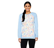 Denim & Co. Active French Terry Sweatshirt with Floral Print - A261805