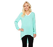 Susan Graver Stretch Woven V-Neck Tunic w/Contrast Trim and Hi-Low Hem - A263005