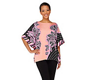 Bob Mackies Boatneck Pinstripe and Floral Printed Caftan Top - A263605