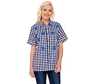 Quacker Factory Embroidered Gingham Button Front Shirt - A264505