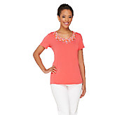 Susan Graver Artisan Liquid Knit Embellished U-Neck Top - A265005