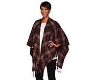 Isaac Mizrahi Live! Plaid Ruana with Fringe - A268405