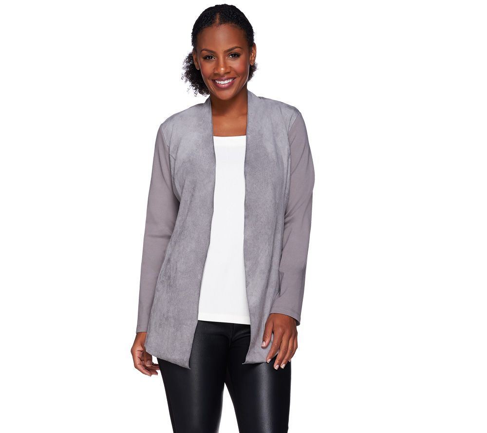 Susan Graver Ponte Knit Open Front Cardigan with Faux Suede - A270305