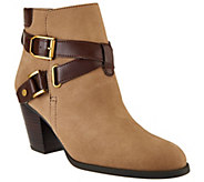 Franco Sarto Suede Booties With Strap & Buckle Details - Delight - A273705