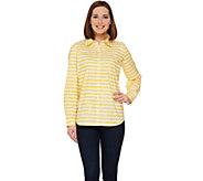 Susan Graver Striped Stretch Cotton Long Sleeve Button Front Shirt - A274505