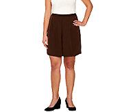As Is Susan Graver Peachskin Pull-On Split Skirt - A274805
