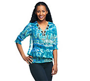 As Is M by Marc Bouwer Printed Blouse with Beaded Neckline - A276705