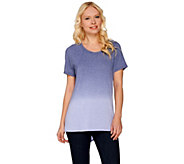 Lisa Rinna Collection Short Sleeve Dip Dyed Knit Top - A277305