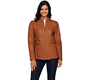 As Is Susan Graver Faux Leather Zip Front Jacket - A277405
