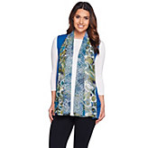 LOGO by Lori Goldstein Knit Vest with Printed Chiffon Trim - A279405