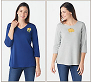 Quacker Factory Set of 2 Fall Fun 3/4 Sleeve T-shirts - A281805